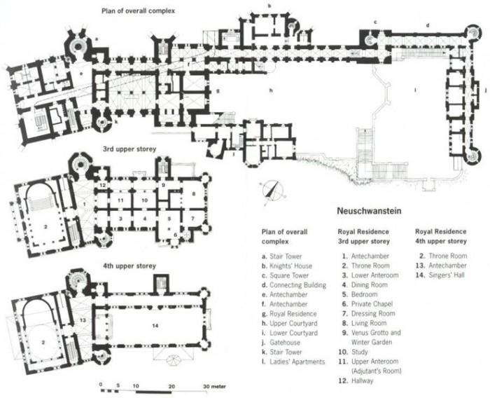 Замок Нойшванштайн план здания