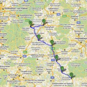 карта романтическая дорога